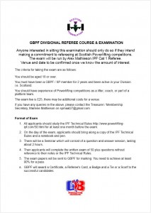 2015 GBPF Divisional Referees Exam Notice
